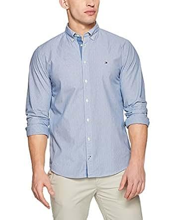 TOMMY HILFIGER Men's Engineered Stripe Dobby Shirt, Estate Blue, X-Small