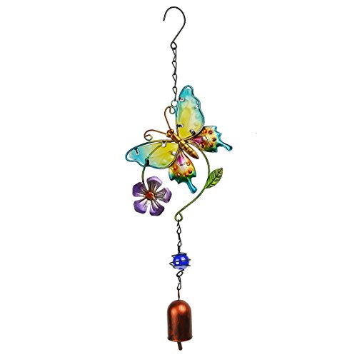 Stained Glass And Metal Purple Flower Butterfly Wind Chimes Garden Windchime (Purple Butterfly Stained Glass)