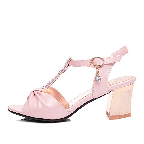 AllhqFashion Womens Kitten Heels Open Toe Soft Material Solid Buckle Sandals Pink oUkfVBBUf