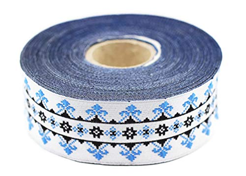 10 Yards 1.18 inch Blue/White Scandinavian Ribbon, Jacquard