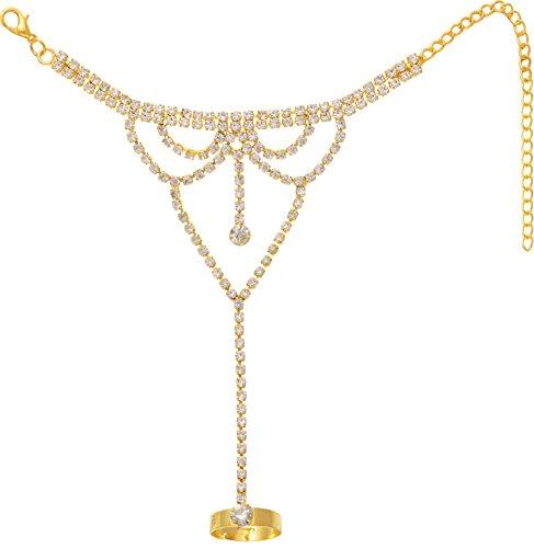 Aaishwarya Golden Crystals Studded Hand Harness Ring Bracelet for Women (B01MT1DJ9J) Amazon Price History, Amazon Price Tracker