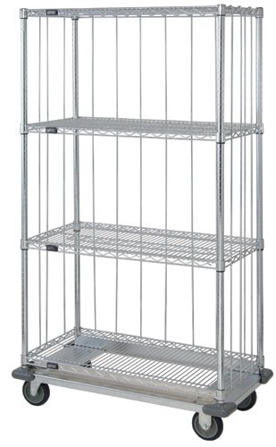 Quantum Storage Systems MD2436C46RE 4-Tier Wire Shelving Mobile Cart with 3-Sided Enclosure Using Rod and Tab, Dolly Base, Chrome Finish, 70