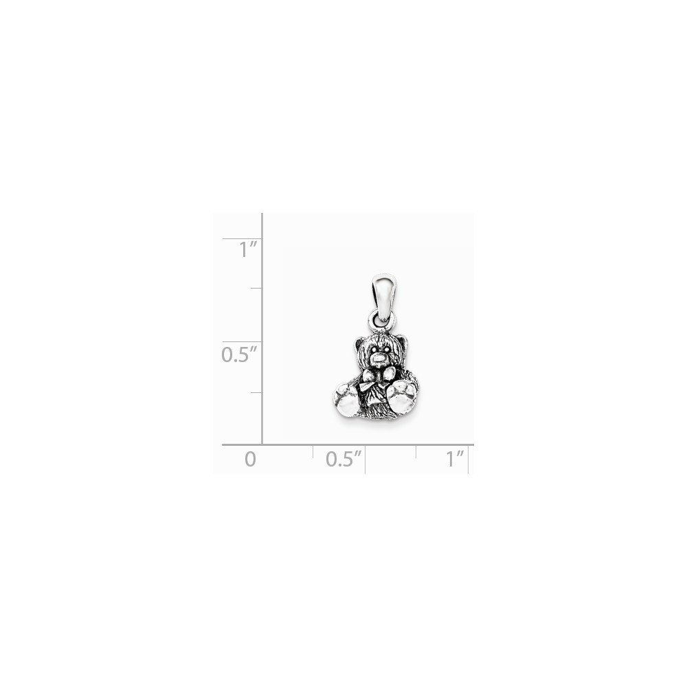 Jewel Tie 925 Sterling Silver Polished Textured Bear Pendant