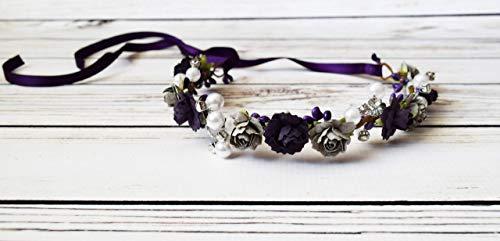 Plum Grey Flower Crown - Vintage Wedding - Purple Gray Headband - Adult Flower Crown - Bridal Flower Crown - Dark Purple Flower Girl -