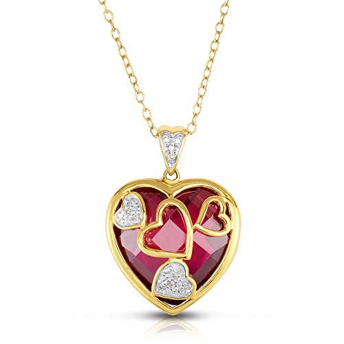 NATALIA DRAKE Reversible Valentine's Day Created Ruby and Genuine Diamond Heart Pendant ()