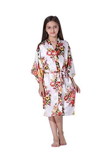 Vogue Forefront Girls' Floral Print Satin Kimono Robe Bathrobe, Size 12, White