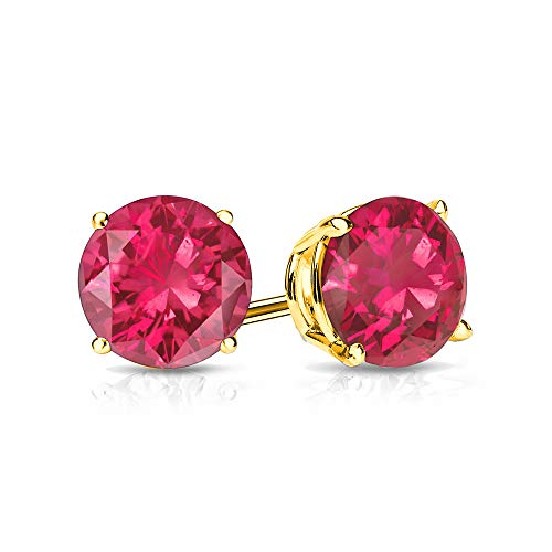 (9mm Created Ruby Stud Earrings in 14k Yellow Gold (4.5 CT. T.W.))