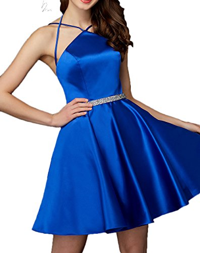 Promkleider A Partykleider La Royal Neuheit Linie Satin Festlichkleider Braut Marie Cocktailkleider Blau Rock Einfach WXWYTRn