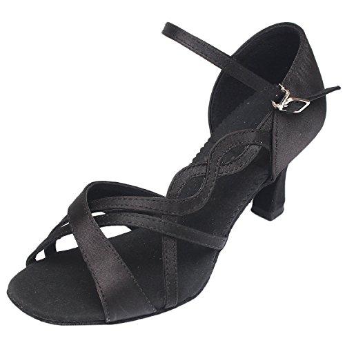 Azbro Mujer Zapato de Baile Latín Correa Tobillo Medio Tacón Puntera Abierta Negro