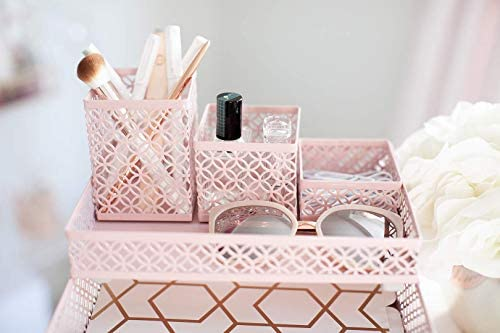 Blu Monaco Office Supplies Pink Desk Accessories for Women-6 Piece Interlocking Desk Organizer Set- Pen Cup, 3 Assorted Accessory Trays, 2 Letter Trays-Pink Room Decor for Women and Teen Girls 41xgHan38zL