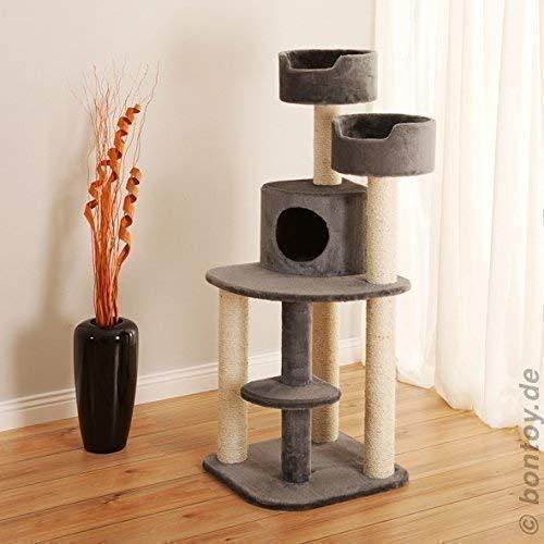 Bontoy Kratzbaum Jerry grau 126 cm, mit 2 Liegekörbchen 35 X 15cm, Sisalstämme mit 9cm Durchmesser. Viel Platz zum…