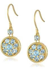 18k Yellow Gold over Sterling Silver Blue Topaz Drop Earrings