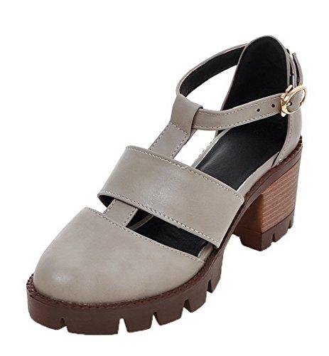 VogueZone009 Women Buckle PU Round-Toe Kitten-Heels Solid Sandals Gray