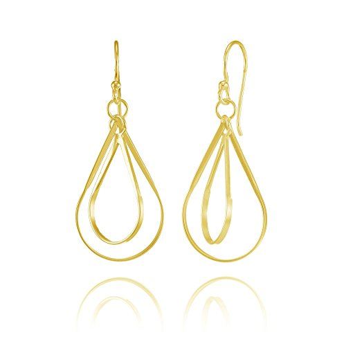 Yellow Gold Flashed Sterling Silver Double Teardrop Lightweight Dangle Drop ()
