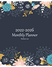 2022-2026 Monthly Planner Medium Size: Five Year Calendar Planner - Schedule Organizer, To-Do List & Journal – 5-Year Motivational Agenda Schedule with Inspirational Quotes & US Federal Holidays - Pretty Simple Floral Flower Cover