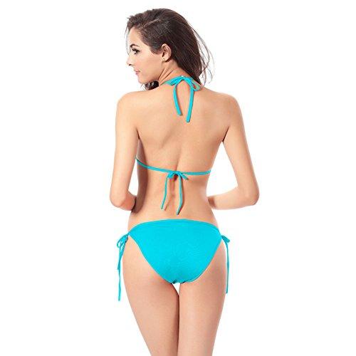 Pinkyee mujer caliente venta lazos tiras Bikini bañadores Azul