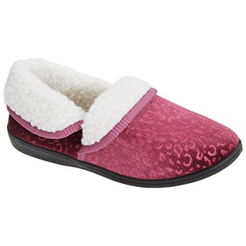 Zapatillas de estar por casa con interior polar para mujer Púrpura