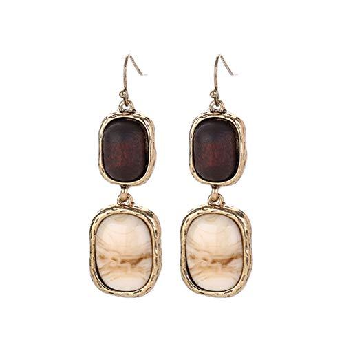 XBKPLO Vintage Marble Dangle Hoop Earrings Multi-layer Gem Texture Wild Hypoallergenic Dangling Gold Earrings Temperament Women's Jewelry Gifts