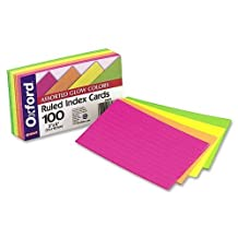 Oxford : Ruled Index Cards, 3 x 5, Glow Green/Yellow/Orange/Pink, 100 per Pack -:- Sold as 2 Packs of - 100 - / - Total of 200 Each by Oxford