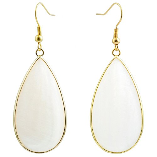 SUNYIK Women's White Shell Round Teardrop Dangle Earrings (African Ring Shell)