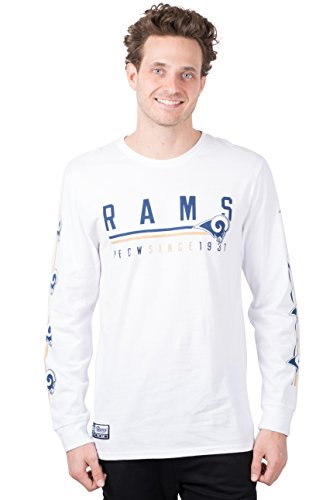 Ultra Game Men's NFL Active Basic Long Sleeve Tee Shirt, Los Angeles Rams, White, Medium
