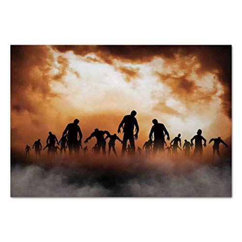 Large Wall Mural Sticker [ Halloween Decorations,Zombies Dead Men Body in the Doom Mist at Night Sky Haunted Decor,Orange Black ] Self-adhesive Vinyl Wallpaper / Removable Modern Decorating Wall Art ()