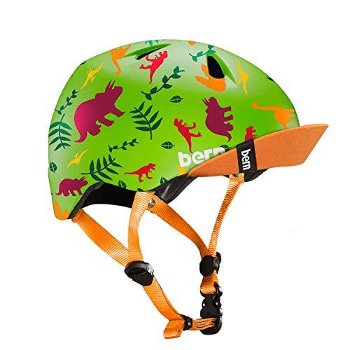 (BERN - Kid's Tigre Helmet, Satin Green Dino w/Visor, XXS)