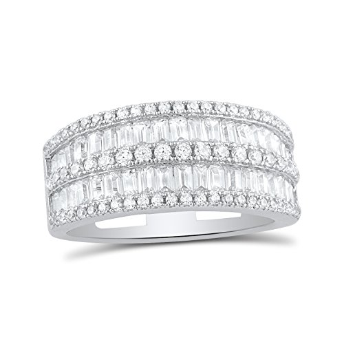(Sterling Silver Simulated Diamond Baguette Cut Statement Ring - Size)