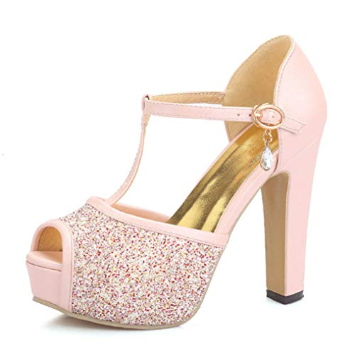 JOYBI Women's Platforms Pumps T-Strap Glitter Ankle Strap Peep Toe Bridal Party Wedding Comfy High Heel Sandals Pink