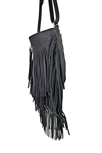 Schultertasche mit Fransen Henkeltasche Handtasche 9142