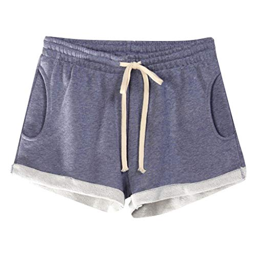 Women Short Pants, JOYFEEL ❤️ Ladies Cotton Linen Casual Elastic Waist Pants Drawstring Solid Summer Walking Shorts Purple