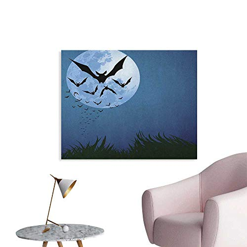 Anzhutwelve Halloween Photographic Wallpaper A Cloud of Bats Flying Through The Night with a Full Moon Fall Season Cool Poster Night Blue Black Grey W32 xL24 -