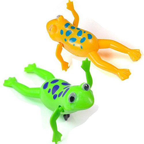 YBpineer 2 Pcs Baby Kids Bath Toy Clockwork Wind Up Plastic Swimming Frog Battery Operated Pool Bath for Kids Baby