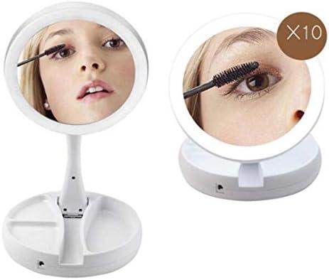10倍拡大化粧鏡両面拡大デスクトップLEDドレッシングミラー本体ポータブルビューティーミラー90度回転フィルライトUSB充電デスクランプ化粧鏡