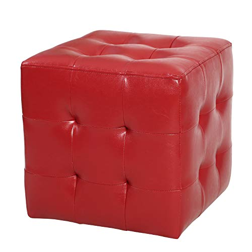 Adeco FT0281-1 Square Tufted Faux Leather, Cubic Cube Bench Footstool, Height 15 Inch Ottomans & Storage Ottomans Red