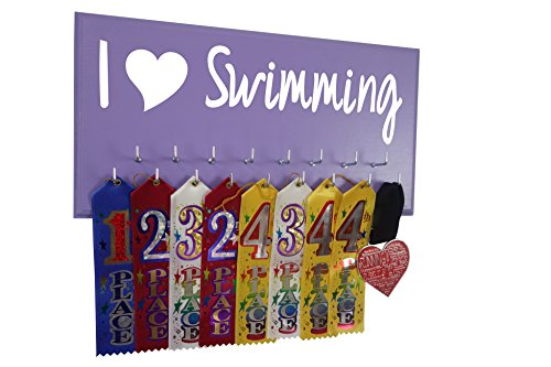 RunningontheWall Swimming Medal Display Rack, Swimming Gifts for Women I Love Swimming Swimmer Ribbon Holder, Swimming Ribbon Display Rack
