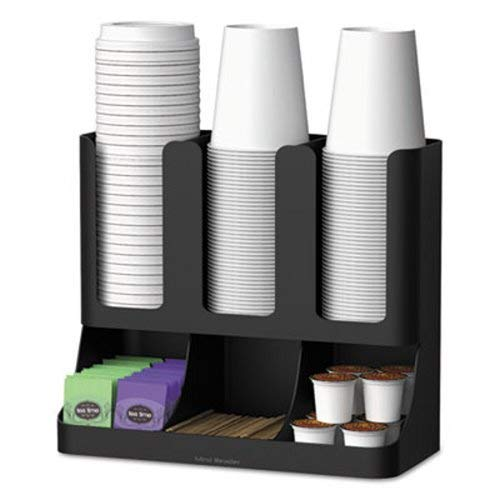 Six-Section Upright Coffee Condiment/Cup Organizer, Black (9 Units) by EMS