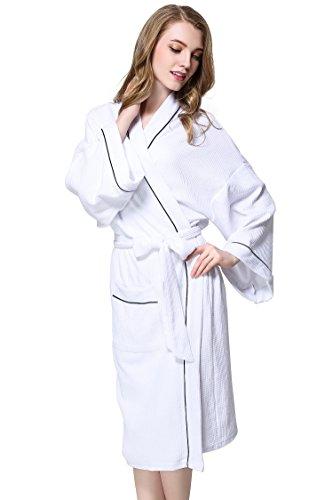 Aibrou Women's Waffle Weave Wrap Robe Kimono Bathrobe Belted Spa (Chenille Waffle)
