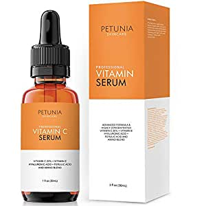 Petunia Skincare Vitamin C Serum for Face 20% with Hyaluronic Acid and Ferulic Acid, Anti Aging Collagen Booster, Natural Organic Skin Care for Acne Scars, Wrinkles, Fades Dark, Age Spot, Sun Damage
