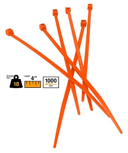 BuyCableTies 4'' Miniature Style Indoor Cable Ties - 18 lb Rated - Made in USA - Orange - 1000 per bag by Buycableties