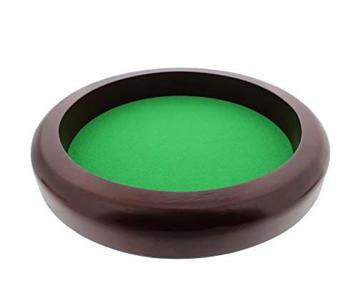 (Get Out! Professional Round Wooden Dice Game Rolling Tray with Plush Felt Lining for D&D, RPG, Yahtzee, Farkle, Bunco)