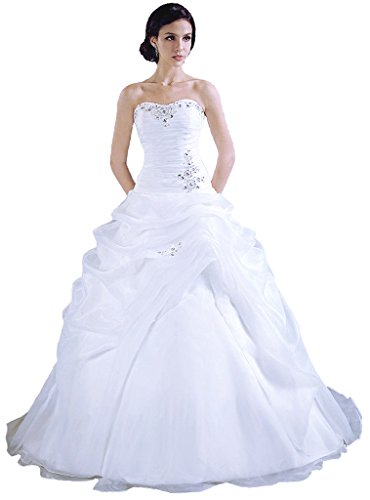RohmBridal Women's Strapless Organza Ball Gown Wedding Dress White Size 30