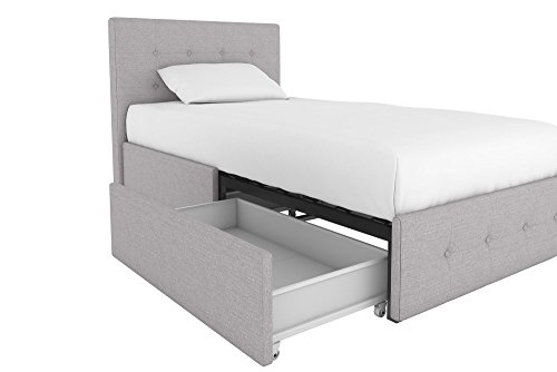 (Rose Upholstered Bed with Storage, Grey Linen, Twin)