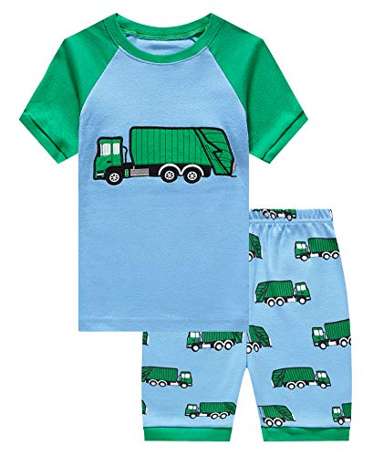 KikizYe Little Boys Garbage Truck Summer Pajamas Short Sets 100% Cotton Toddler Kid 2T