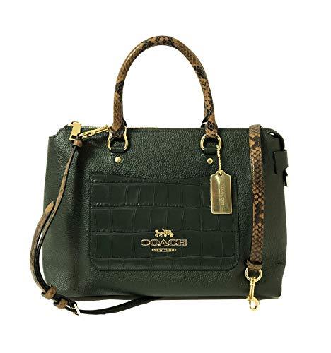 Coach Leather Exotic Mixed Emma Satchel Crossbody Handbag (IM/Ivy)