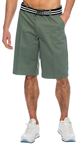 TR Fashion Men's Bahamas Belted Walking Shorts (Steel, -
