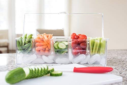 Adorn Home Ice Chilled Large Condiment Server | 5 Compartment on Ice Caddy | 5 Removable Dishes with over 2 Cup Capacity Each with Hinged Lid | Crystal Clear Plasic