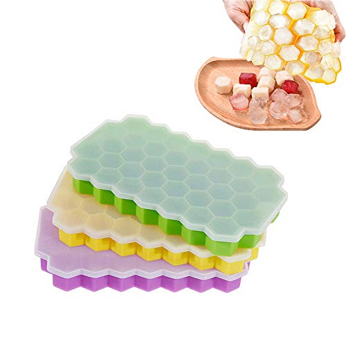 (Moldfun 2Pcs 37 Grids Ice Cubes Honeycomb Ice Cream Maker Silicone Mold Tray for Chocolate Candy Gummy Ice Cube Jello Jelly Cake Mini Soap Wax Crayon Melt Popsicle )