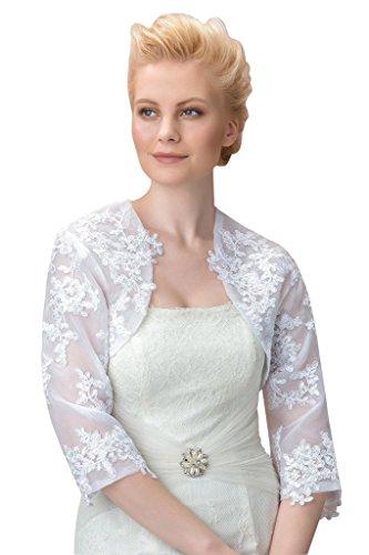 Blake Yarn (Sisjuly Women's 3/4 Long Sleeve Appliques Wedding Jacket 14 Ivory)