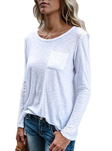 ANDUUNI Womens Summer Long Sleeve T Shirts Casual Plain Round Neck Pocket Blouses Tops